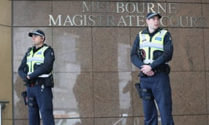 Police outside the Melbourne magistrates court