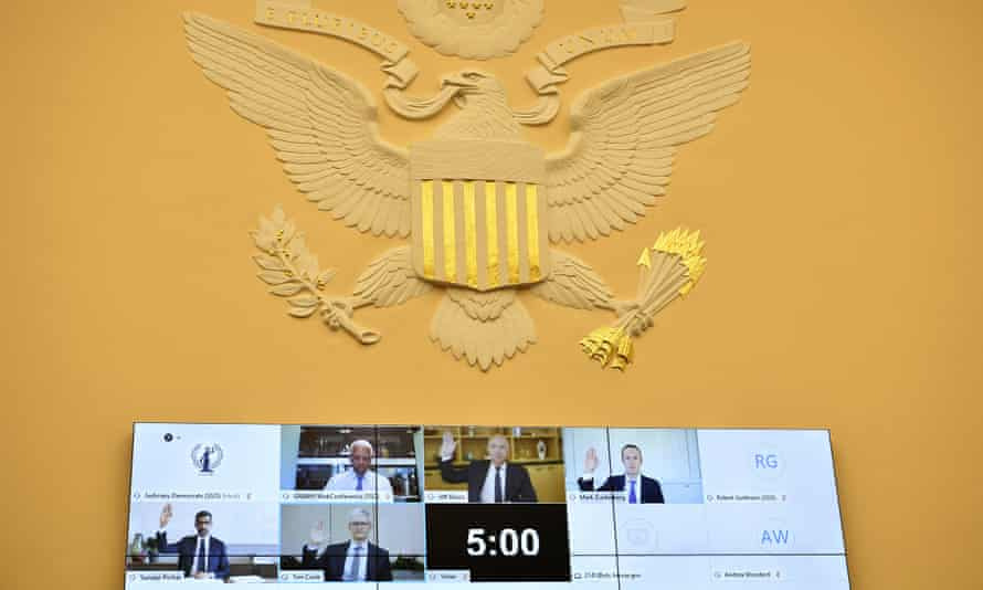 The tech bosses are sworn in remotely for the House subcommittee hearing last week.