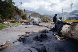 A battered road on the edge of the capital. Dominican authorities were still repairing highways and buildings damaged by tropical storm Erika in 2015 when Hurricane Maria stuck last week