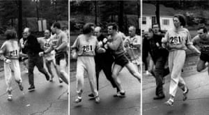 The altercation between Switzer, a marathon official and her boyfriend during the race in 1967.
