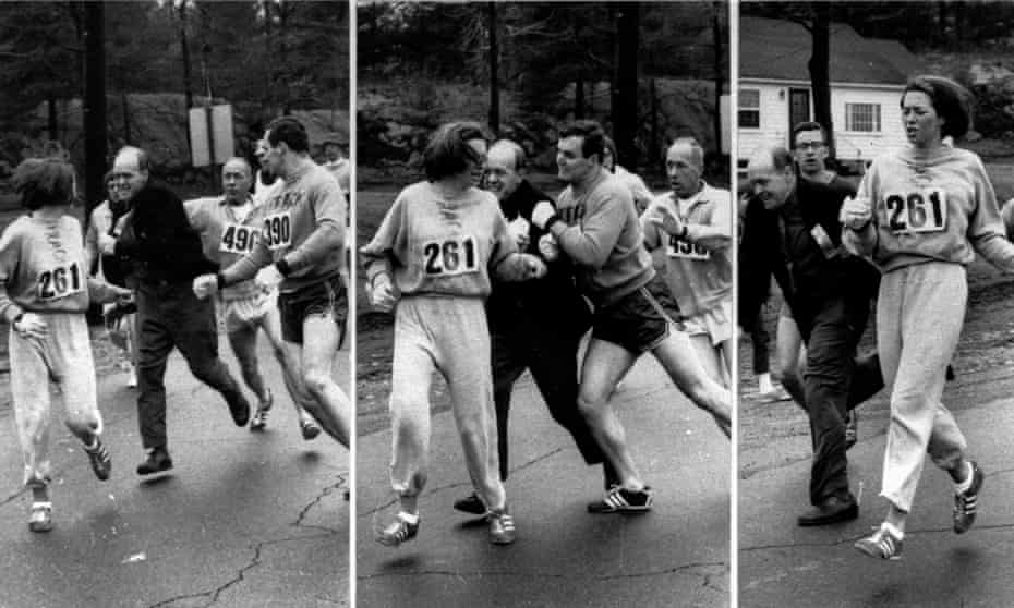261 and still running ... 'K Switzer' narrowly avoids being physically thrown out of the Boston marathon in 1972.