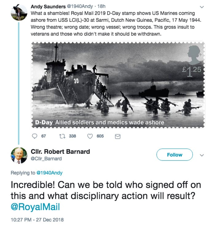 Royal Mail in stamp blunder after confusing D-day beaches with