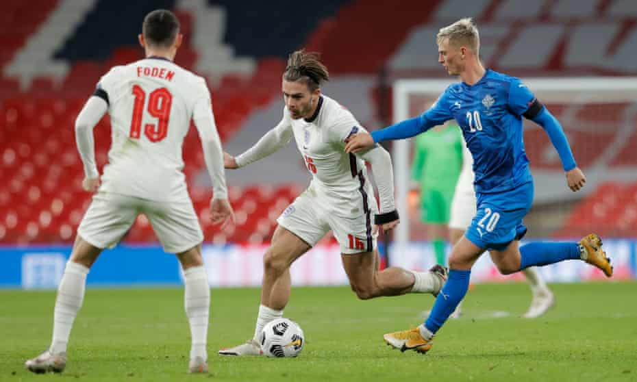 Jack Grealish and Phil Foden, two of England's most exciting offensive talents, in action against Iceland in November.
