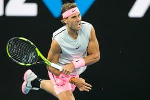 Rafael Nadal serves on day one.