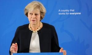 Theresa May giving pro-grammar school speech