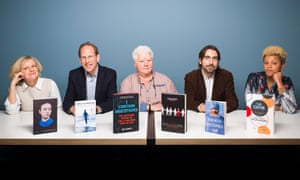 Wellcome book prize judges 2017, Di Speirs, Simon Baron-Cohen, Val McDermid, Tim Lewens and Gemma Cairney.