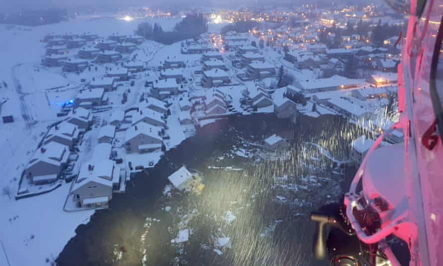 Aerial image shows the damage caused by landslide in Gjerdrum, Norway