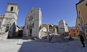 The collapsed basilica of San Benedetto in Norcia