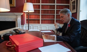 Philip Hammond prepares his budget speech in his office in Downing Street