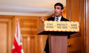 Britain's chancellor of the exchequer, Rishi Sunak, at the daily Downing Street briefing.