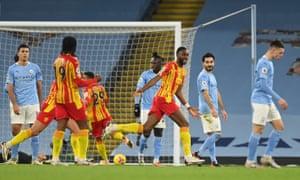 West Bromwich Albion's Semi Ajayi celebrates scoring the equaliser.