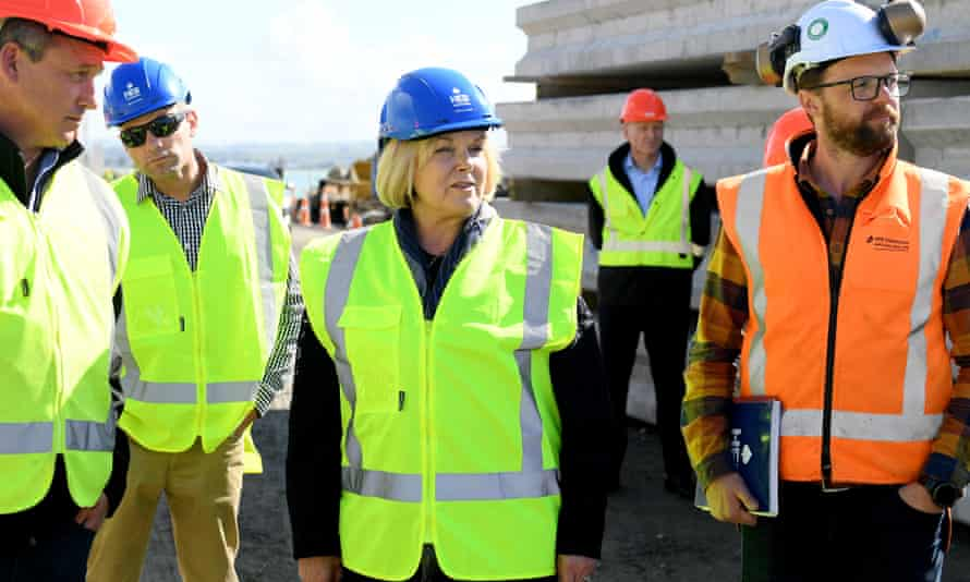 National leader Judith Collins tours construction work building a new wharf at the Port of Napier.