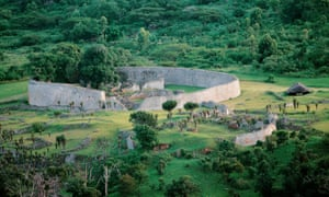 Great Zimbabwe ruins. The Great Enclosure seen from the Hill Complex