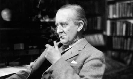 JRR Tolkien, in his study at Merton College, Oxford, in 1956.