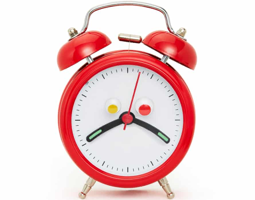 Photograph of alarm clock with droopy hands