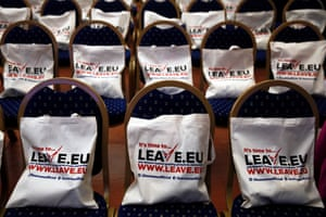 Campaign bags placed on seats before the start of a Leave.EU campaign news conference in London