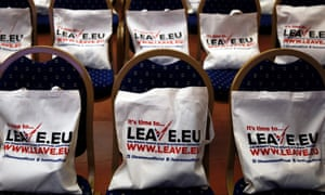 Leave.EU campaign bags are placed on seats before the start of a news conference.