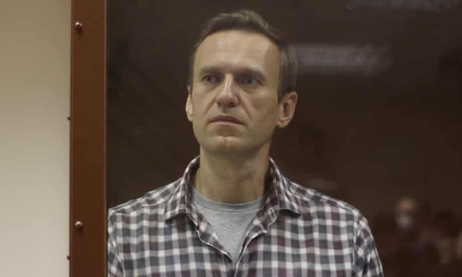 Alexei Navalny during a court hearing in Moscow last weekend