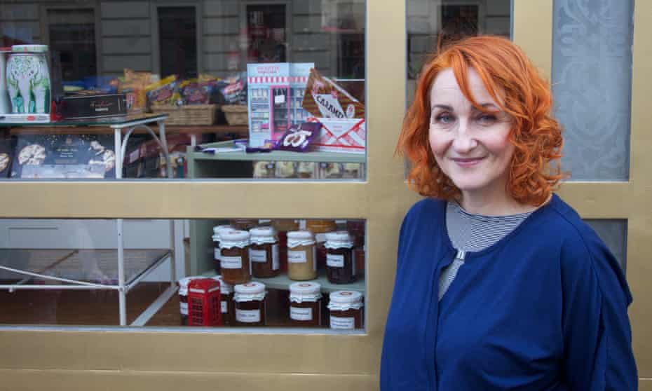 Antje Blank, the new owner of Berlin's Broken English shop, which sells English delicacies and souvenirs. She is currently stocking up on products in case of a no-deal Brexit