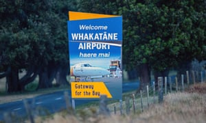 The sign outside Whakatāne airport, complete with macron