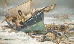 a painting of john franklins men dying on the ice by their stricken boat
