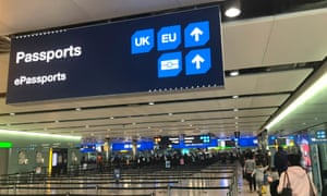 The UK border control point at the arrivals area of Heathrow airport in London.
