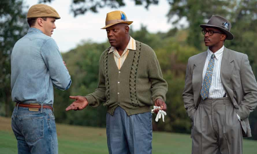Nicholas Hoult, Samuel L Jackson and Anthony Mackie in a scene from The Banker.