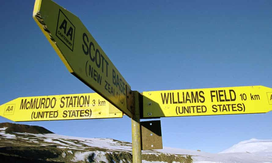 A road sign at New Zealand's scientific research facility of Scott Base in Antarctica points to the US operated stations where it's been decided fewer priests are needed.