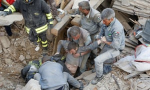 A man is rescued alive from in Amatrice