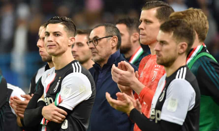 Cristiano Ronaldo chooses not to join in the applause for the victors.