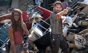 Danai Gurira and Andrew Lincoln in The Walking Dead.