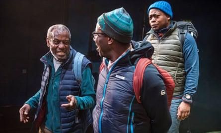 'Ambitious': Tyrone Huggins, Trevor Laird and Tonderai Munyevu in Black Men Walking at Royal Exchange, Manchester