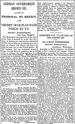 The Zimmermann Telegram Revealed Archive 2 March 1917 World