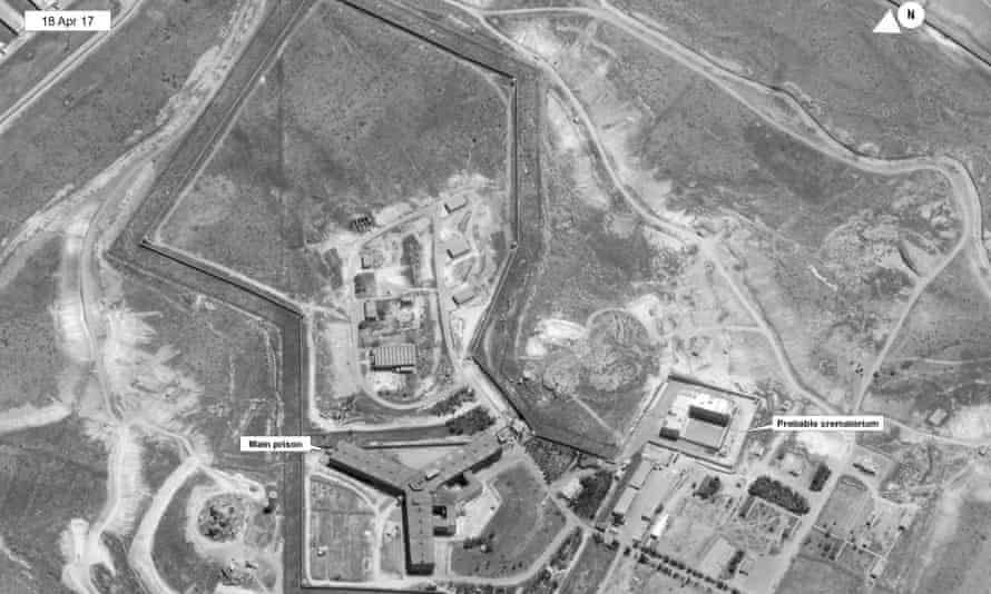 A satellite image of what the state department described as a building in a prison complex in Syria that was modified to support a crematorium.