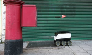 Special delivery … a Starship Technologies robot delivers the first robot-delivered online takeaway food order in Greenwich, London.