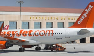 An easyJet plane at Malaga airport, Spain.