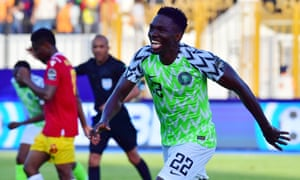Kenneth Omeruo celebrates after scoring the winner for Nigeria.