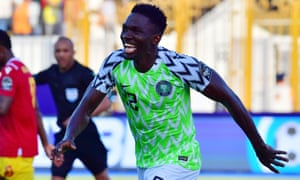 Kenneth Omeruo celebrates his goal against Guinea at the 2019 Africa Cup of Nations.