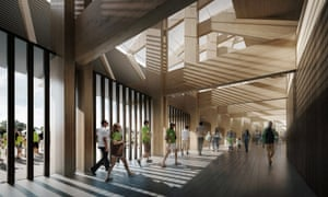 """A computer-generated image shows a concourse of the new Forest Green Rovers stadium """"Eco Park"""", which will be made almost entirely out of wood."""