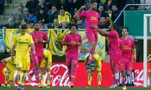 Las Palmas defender David Garcia leaps to celebrate his goal against Villarreal