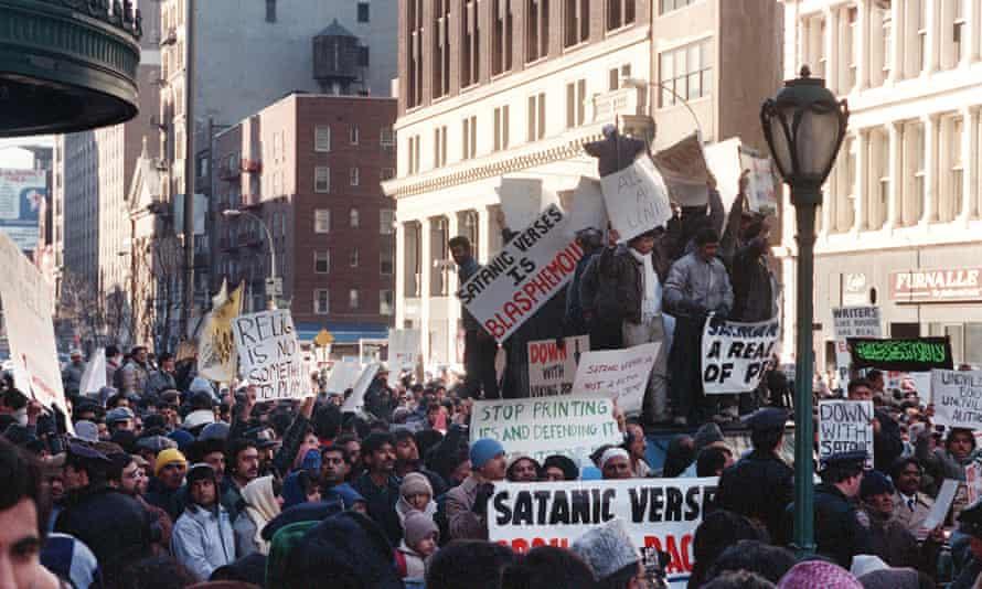 Muslims protesting against the publication of Salman Rushdie's The Satanic Verses outside Viking/Penguin, New York, 1989