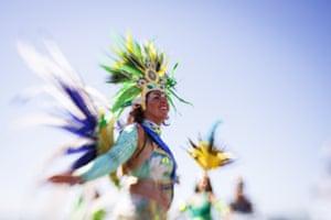 Woman dancing in Samba costume