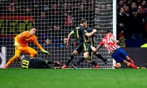Jose Gimenez, of Atletico Madrid, scores for his first goal.
