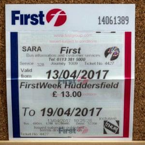 Bus ticket to Huddersfield