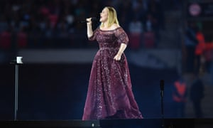 Adele performing at Wembley Stadium.