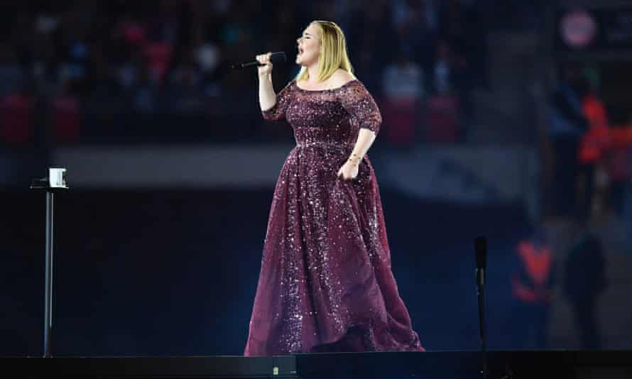 Adele performing at Wembley Stadium.