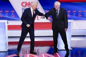 Washington, USFormer Vice President Joe Biden and Sen. Bernie Sanders greet each other before they participate in a Democratic presidential primary debate at CNN Studios.