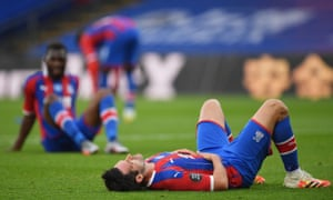 Crystal Palace's Scott Dann looks dejected after a missed chance