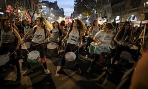Members of Ni Una Menos, (Not One Less), play drums as they protest about violence against women in the country. The movement is marking its fourth anniversary by remembering the hundreds of women murdered in recent times, and are demanding laws to curb sexist violence that continues to permeate society.