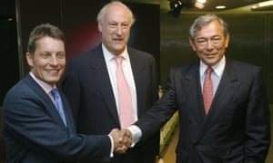 Andy Hornby (left) during a 2008 meeting with Lloyds TSB's CEO, Eric Daniels, (right) and Lloyds chairman, Sir Victor Blank.